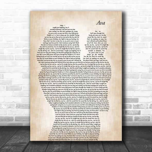 Pip Millett Ava Mother & Baby Decorative Wall Art Gift Song Lyric Print