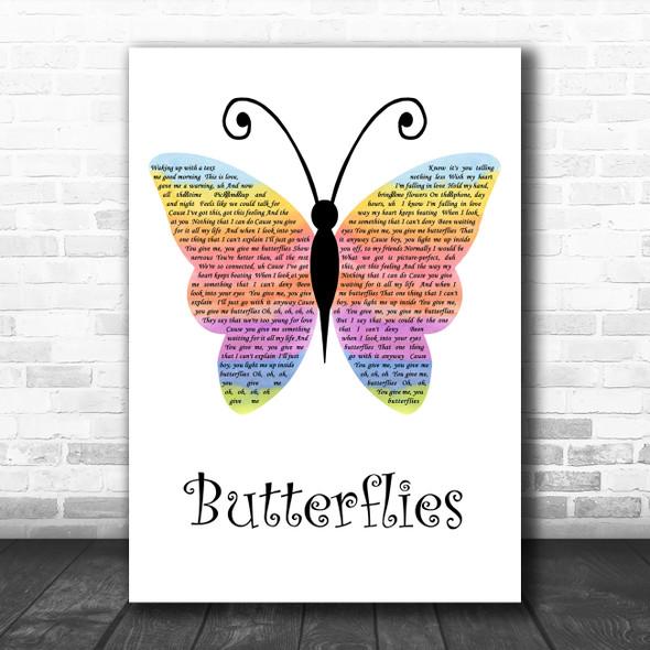 Piper Rockelle Butterflies Rainbow Butterfly Decorative Wall Art Gift Song Lyric Print