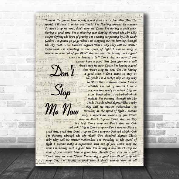 Queen Don't Stop Me Now Vintage Script Song Lyric Music Wall Art Print