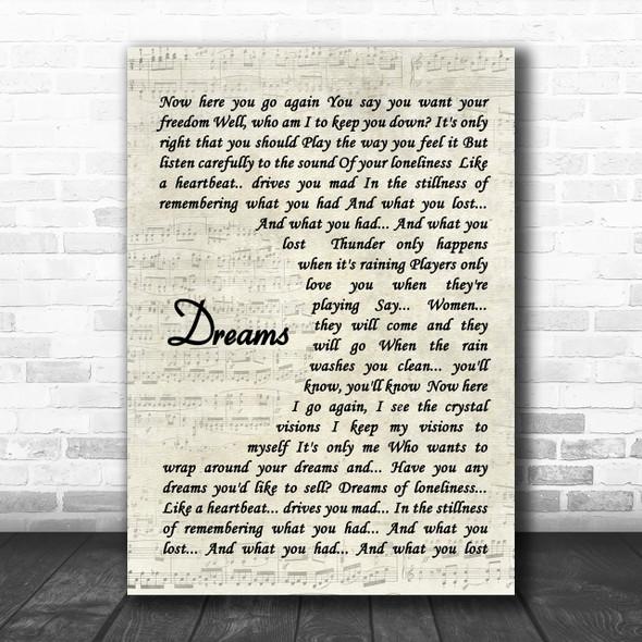 Fleetwood Mac Dreams Song Lyric Music Wall Art Print