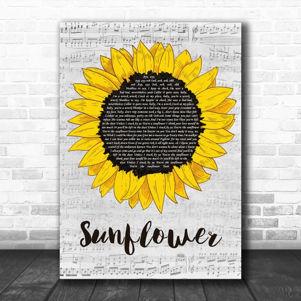 Post Malone & Swae Lee Sunflower Grey Script Sunflower Decorative Wall Art Gift Song Lyric Print
