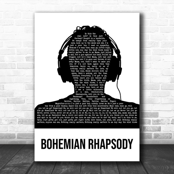 Queen Bohemian Rhapsody Black & White Man Headphones Decorative Gift Song Lyric Print