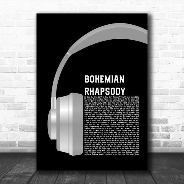 Queen Bohemian Rhapsody Grey Headphones Decorative Wall Art Gift Song Lyric Print