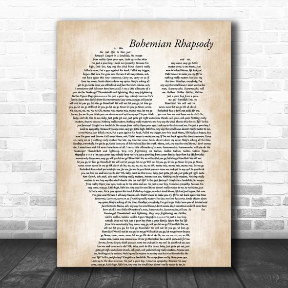 Queen Bohemian Rhapsody Mother & Baby Decorative Wall Art Gift Song Lyric Print