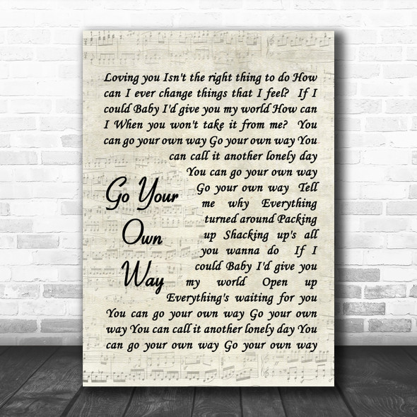 Fleetwood Mac Go Your Own Way Song Lyric Music Wall Art Print