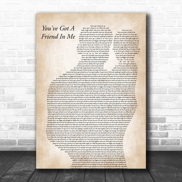 Randy Newman You've Got A Friend In Me Father & Baby Decorative Gift Song Lyric Print