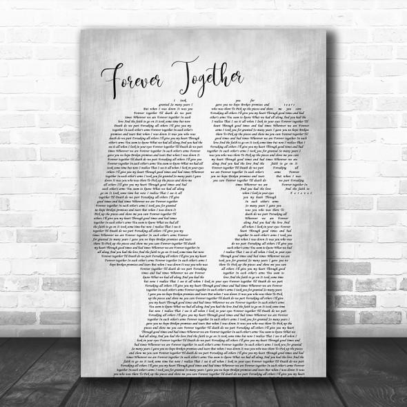 Randy Travis Forever Together Lesbian Women Gay Brides Couple Wedding Grey Song Lyric Print