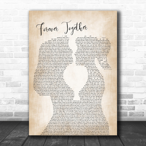 Randy Travis Forever Together Lesbian Women Gay Brides Couple Wedding Song Lyric Print