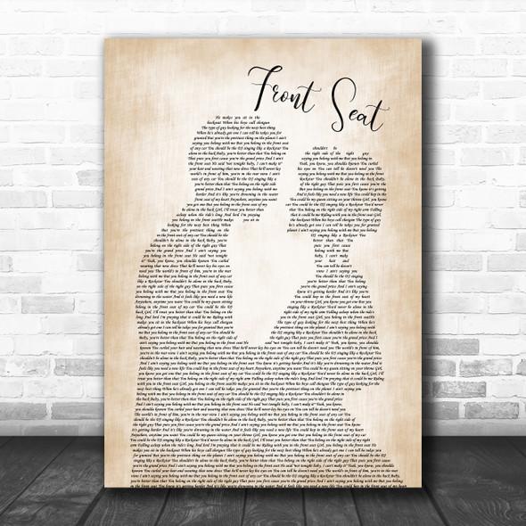 Rayne Johnson Front Seat Man Lady Bride Groom Wedding Decorative Gift Song Lyric Print