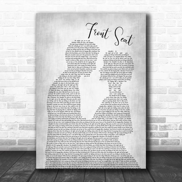 Rayne Johnson Front Seat Man Lady Bride Groom Wedding Grey Decorative Gift Song Lyric Print