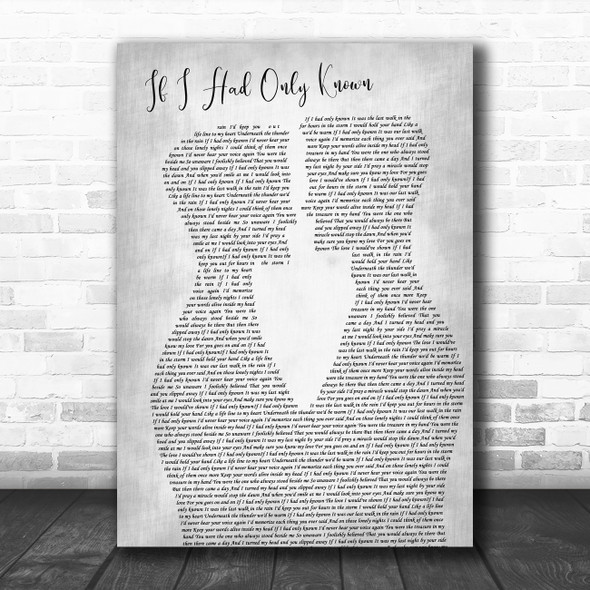 Reba McEntire If I Had Only Known Two Men Gay Couple Wedding Grey Wall Art Gift Song Lyric Print