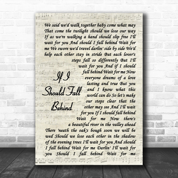 Bruce Springsteen If I Should Fall Behind Song Lyric Vintage Script Music Wall Art Print