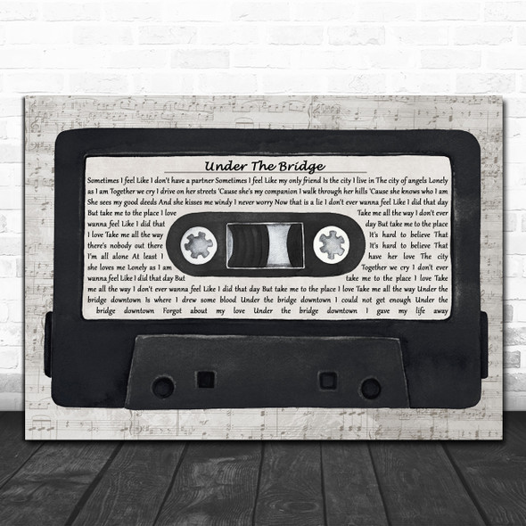 Red Hot Chili Peppers Under The Bridge Music Script Cassette Tape Gift Song Lyric Print