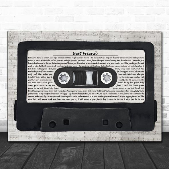 Rex Orange County Best Friend Music Script Cassette Tape Decorative Wall Art Gift Song Lyric Print