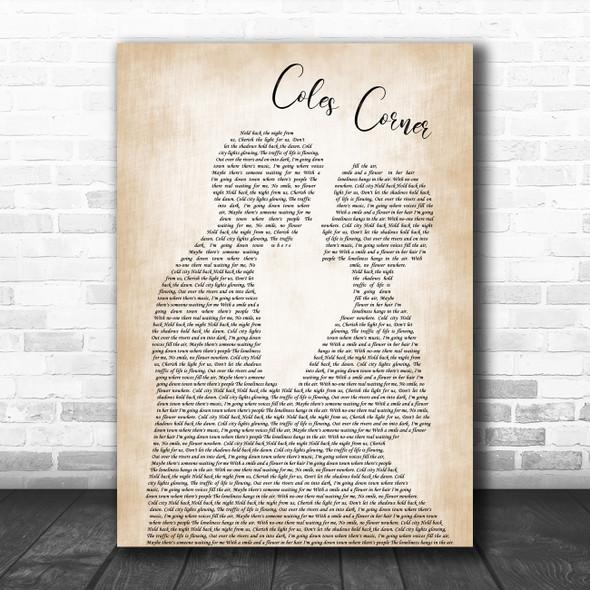 Richard Hawley Coles Corner Man Lady Bride Groom Wedding Decorative Gift Song Lyric Print