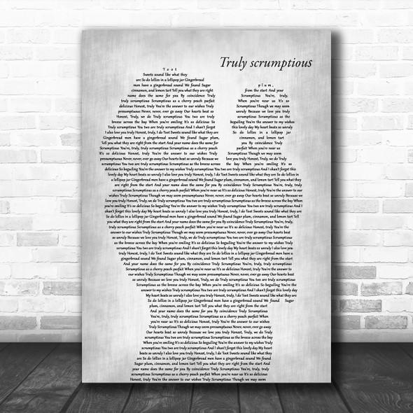 Richard M. Sherman & Robert B. Sherman Truly scrumptious Mother & Baby Grey Wall Art Song Lyric Print