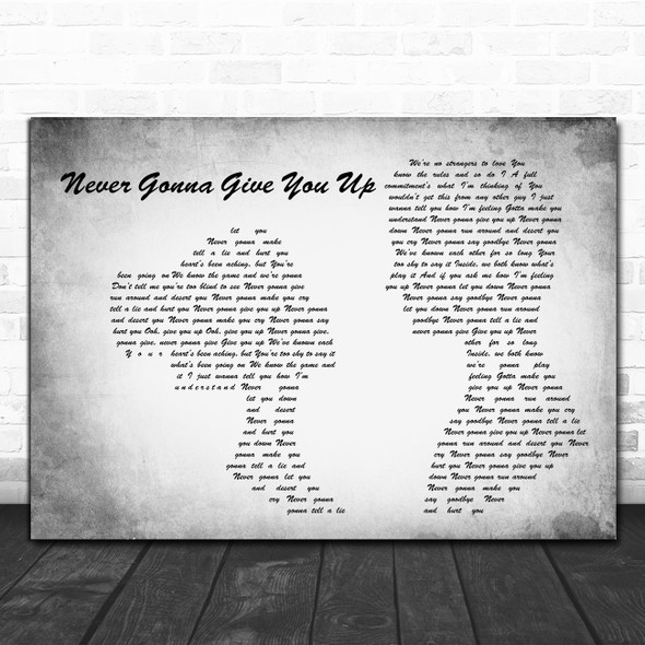 Rick Astley Never Gonna Give You Up Man Lady Couple Grey Decorative Gift Song Lyric Print