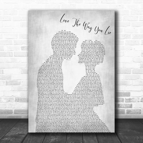Rihanna ft. Eminem Love The Way You Lie (Part 2) Man Lady Bride Groom Wedding Grey Song Lyric Print