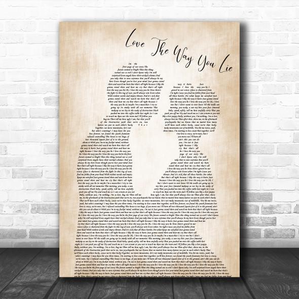 Rihanna ft. Eminem Love The Way You Lie (Part 2) Man Lady Bride Groom Wedding Song Lyric Print