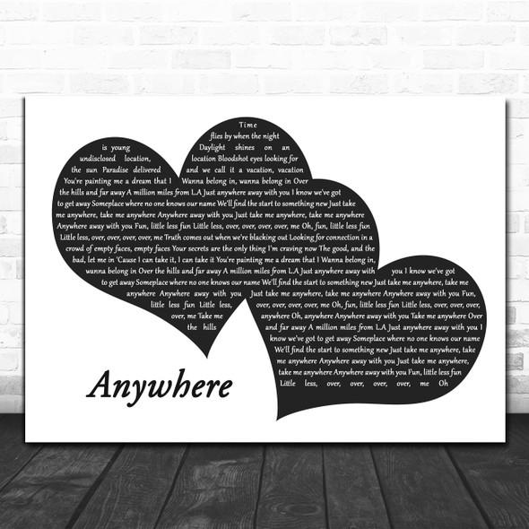 Rita Ora Anywhere Landscape Black & White Two Hearts Decorative Gift Song Lyric Print
