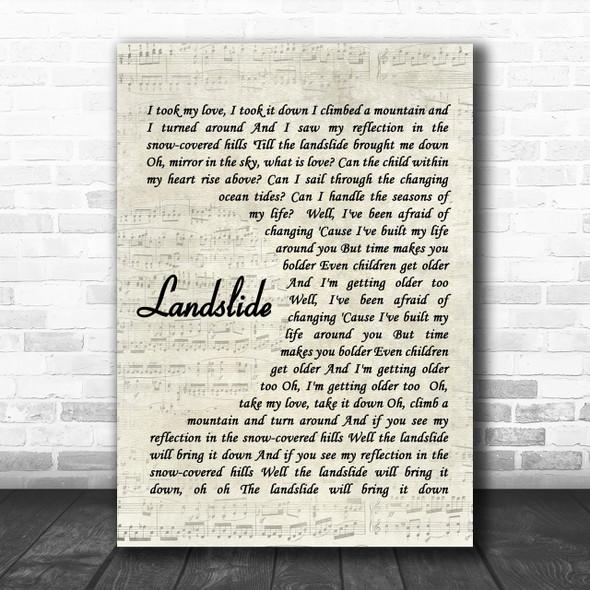 Fleetwood Mac Landslide Song Lyric Music Wall Art Print
