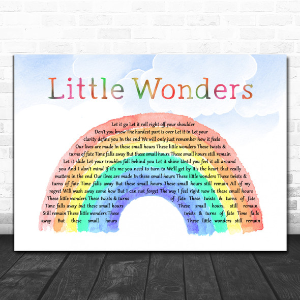 Rob Thomas Little Wonders Watercolour Rainbow & Clouds Decorative Gift Song Lyric Print