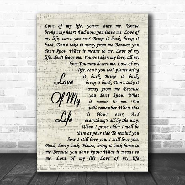 Queen Love Of My Life Song Lyric Vintage Script Music Wall Art Print