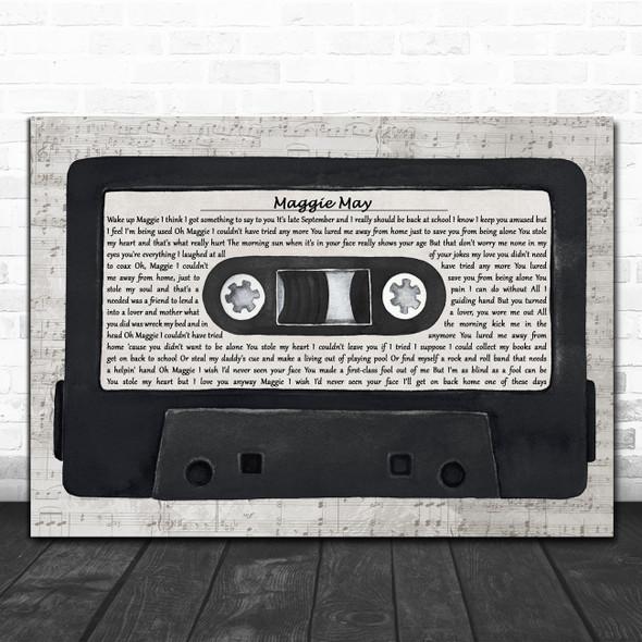 Rod Stewart Maggie May Music Script Cassette Tape Decorative Wall Art Gift Song Lyric Print