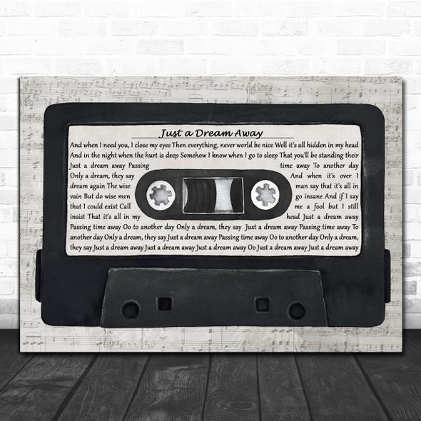 Roger Daltrey Just a Dream Away Music Script Cassette Tape Decorative Gift Song Lyric Print