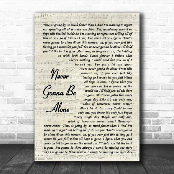 Nickelback Never Gonna Be Alone Song Lyric Vintage Script Music Wall Art Print