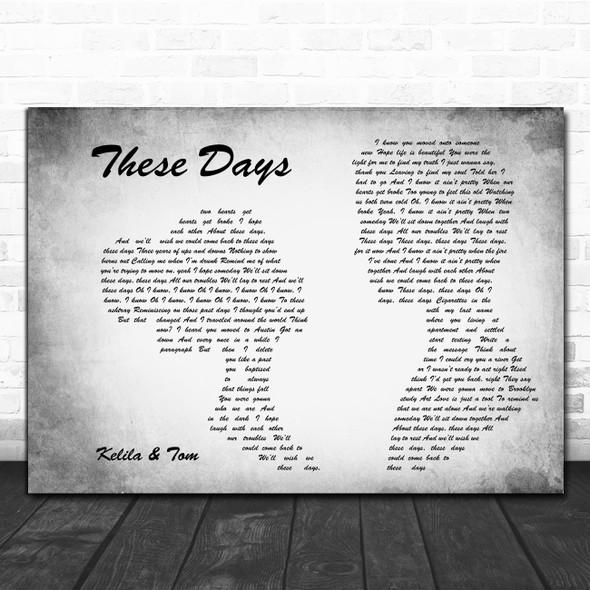 Rudimental feat. Dan Caplen, Jess Glynne & Macklemore These Days Man Lady Couple Grey Wall Art Song Lyric Print