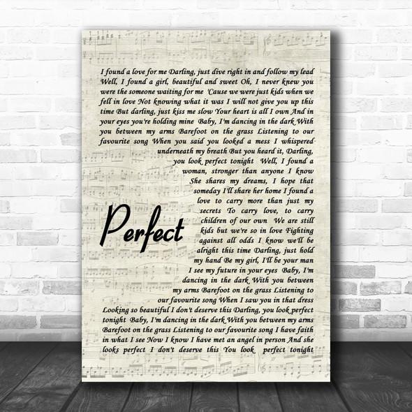 Ed Sheeran Perfect Song Lyric Music Wall Art Print