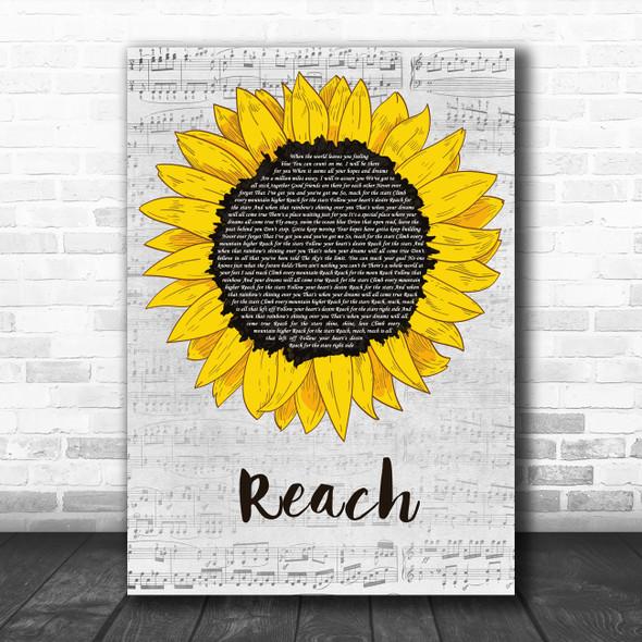 S Club 7 Reach Grey Script Sunflower Decorative Wall Art Gift Song Lyric Print