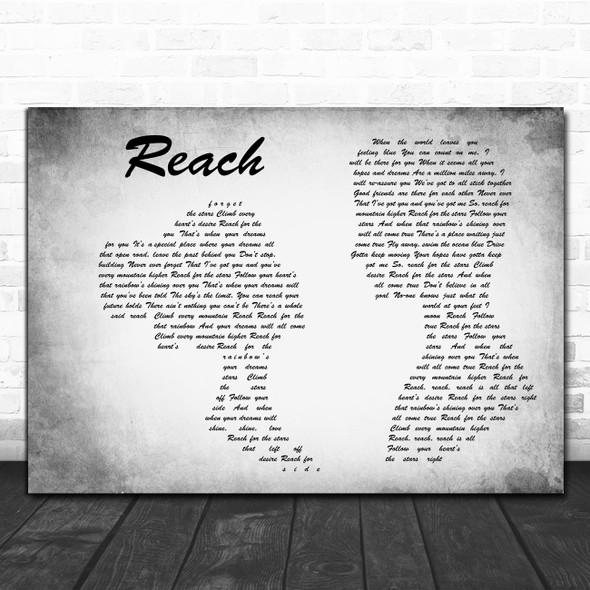 S Club 7 Reach Man Lady Couple Grey Decorative Wall Art Gift Song Lyric Print