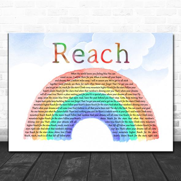 S Club 7 Reach Watercolour Rainbow & Clouds Decorative Wall Art Gift Song Lyric Print
