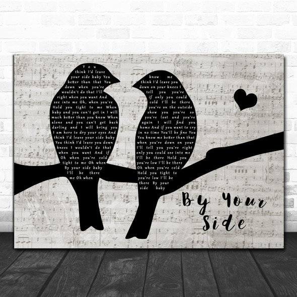 Sade By Your Side Lovebirds Music Script Decorative Wall Art Gift Song Lyric Print