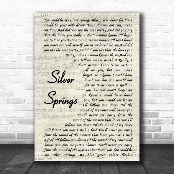 Fleetwood Mac Silver Springs Vintage Script Song Lyric Music Wall Art Print