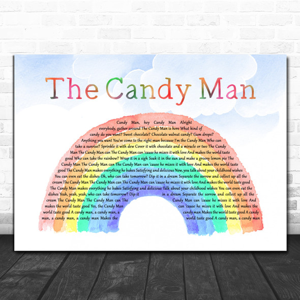 Sammy Davis Jr. The Candy Man Watercolour Rainbow & Clouds Decorative Gift Song Lyric Print
