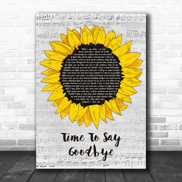 Sarah Brightman feat. Andrea Bocelli Time To Say Goodbye Grey Script Sunflower Song Lyric Print