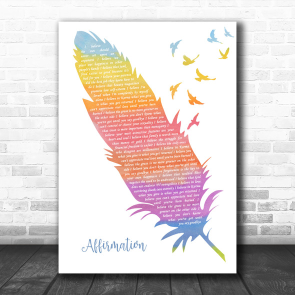 Savage Garden Affirmation Watercolour Feather & Birds Decorative Gift Song Lyric Print