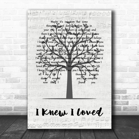 Savage Garden I Knew I Loved You Music Script Tree Decorative Wall Art Gift Song Lyric Print