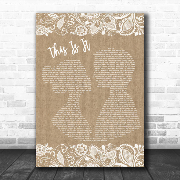 Scotty McCreery This Is It Burlap & Lace Decorative Wall Art Gift Song Lyric Print