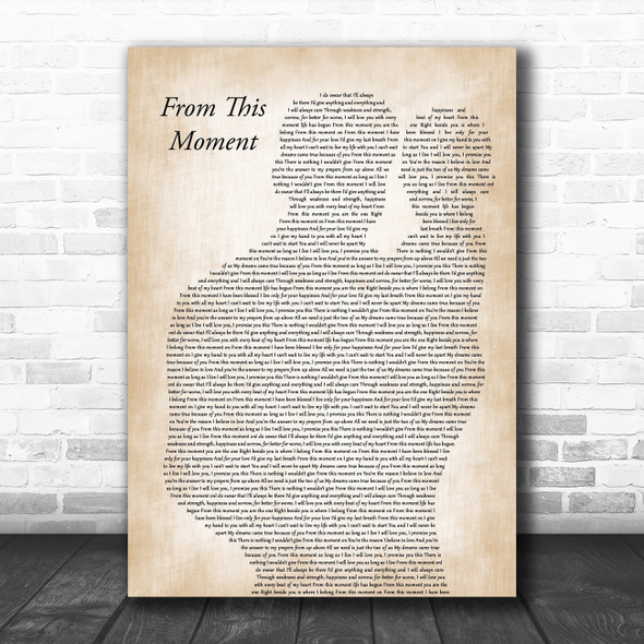 Shania Twain From This Moment On Father & Baby Decorative Wall Art Gift Song Lyric Print