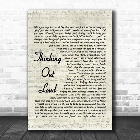 Ed Sheeran Thinking Out Loud Song Lyric Music Wall Art Print