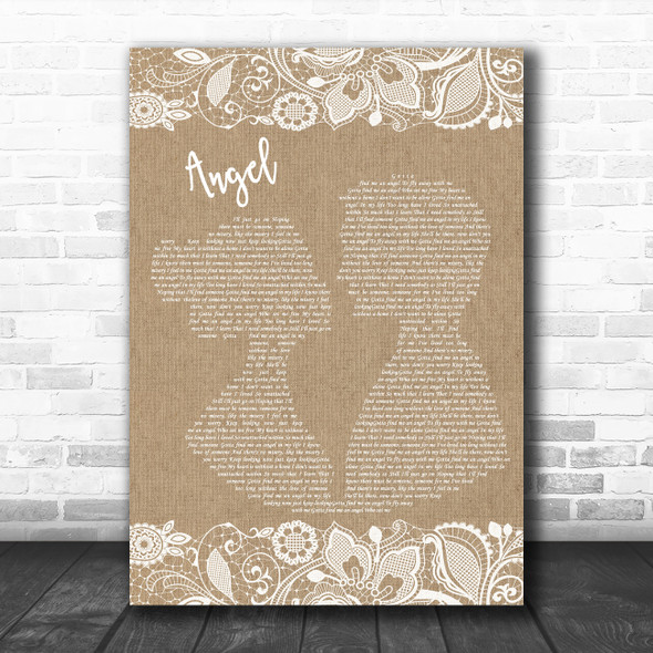 Simply Red Angel Burlap & Lace Decorative Wall Art Gift Song Lyric Print