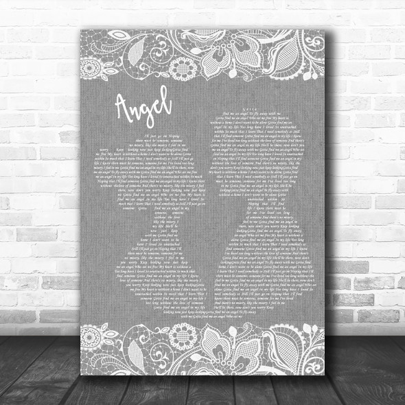 Simply Red Angel Grey Burlap & Lace Decorative Wall Art Gift Song Lyric Print