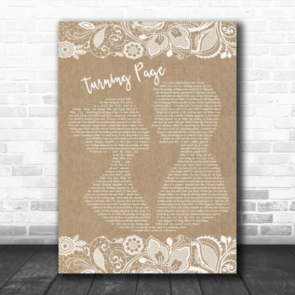 Sleeping At Last Turning Page Burlap & Lace Decorative Wall Art Gift Song Lyric Print