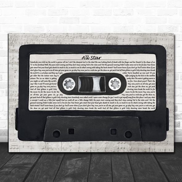 Smash Mouth All Star Music Script Cassette Tape Decorative Wall Art Gift Song Lyric Print