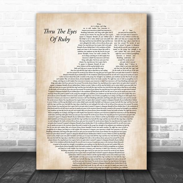 Smashing Pumpkins Thru The Eyes Of Ruby Father & Baby Decorative Wall Art Gift Song Lyric Print