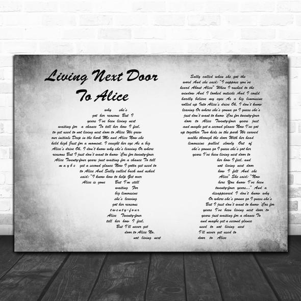Smokie Living Next Door To Alice Man Lady Couple Grey Decorative Gift Song Lyric Print
